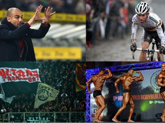 Die Themen der ersten Ausgabe: Rückrundenauftakt, Querfeldein-Radsport, Ultras und Doping im Breitensport. Fotos: © Patrick Stollarz, David Stockman, Patrick Stollarz, Attila Kisbenedek / AFP