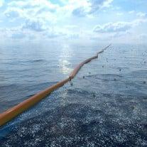 So könnte eine der geplanten Barrieren aussehen - hier in einer Computer-Animation. Rechte: The Ocean Cleanup
