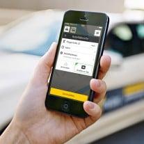 "App starten, Strecke auswahlen, Taxi fahren - das verspricht ""mytaxi"". Foto: mytaxi"