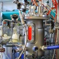 Im Labor steht dieser 10 Liter Bioreaktor, indem bereits tierische Zellen (in der rötlichen Nährlösung) gezüchtet werden.