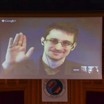 Snowden via Video - JONATHAN NACKSTRAND AFP