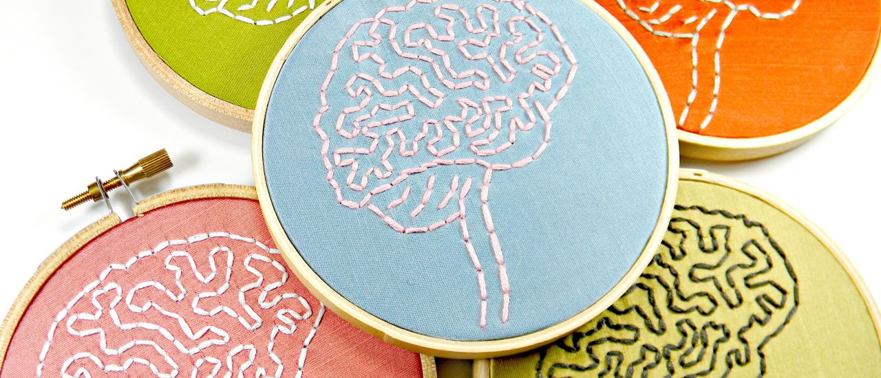 Brain Anatomy Hoop Art. Hand Embroidered Wall Decor