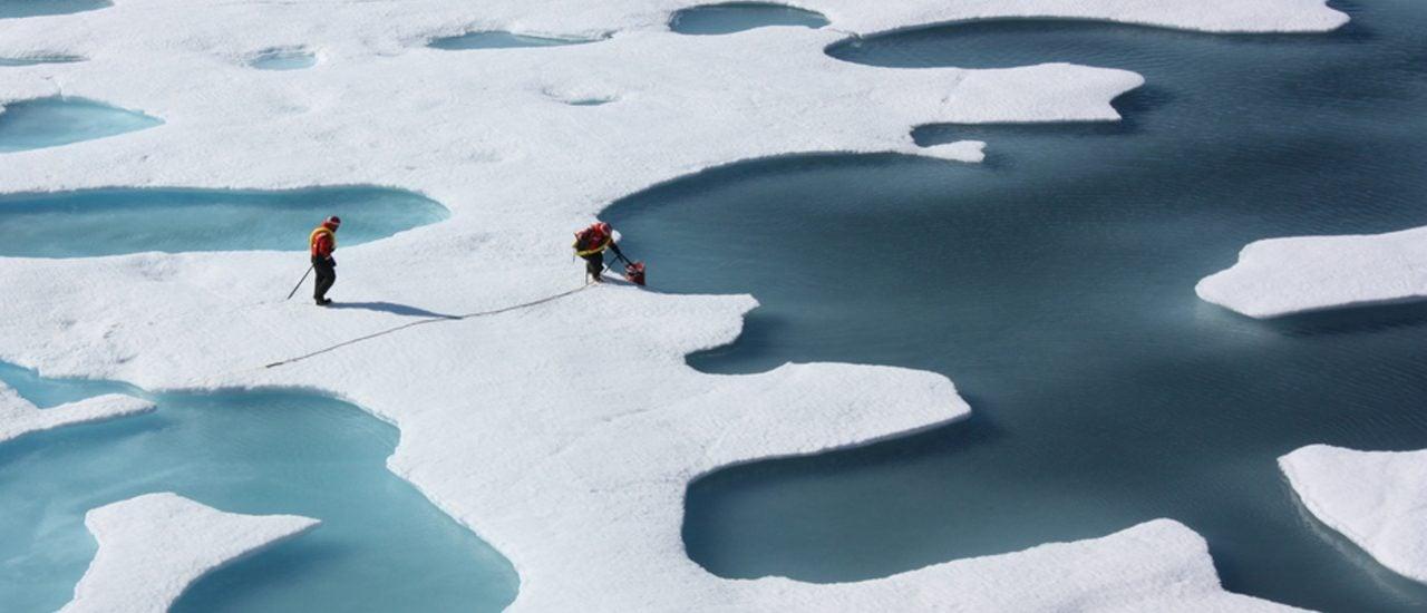 Immer weniger Weiß: Die Erderwärmung lässt die Arktis real und auf den Weltkarten schrumpfen. Laut National Geograhic verkleinert sich die Eisfläche seit den 1970er Jahren pro Jahrzent um zwölf Prozent. Foto: Arctic Sea Ice CC BY 2.0 | NASA Goddard Space Flight Center / Flickr.com