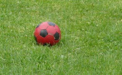 Foto: Roter Fußball auf grünem Rasen | CC BY 2.0 | stachelbeer / flickr.com