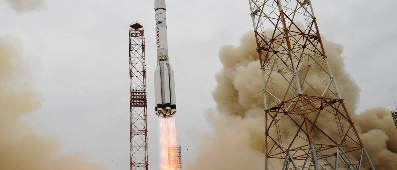 Pünktlich um 10.31 MEZ flog die Proton Rakete in den Himmel. Foto: ESA | Stephane Corvaja