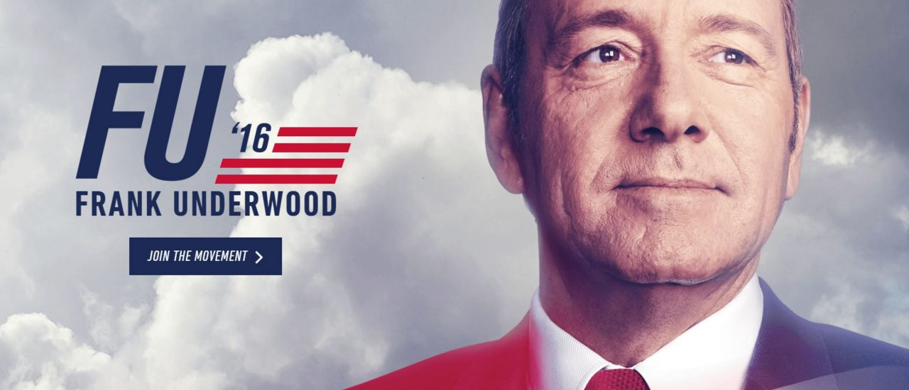"Frank Underwood (Kevin Spacey) als Präsidentschaftskandidat in ""House of Cards"". Foto: Pressefoto / Netflix"