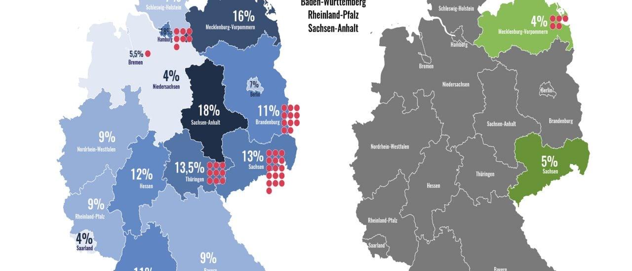 Die Umfragewerte der AfD und der NPD im deutschlandweiten Vergleich. Grafik: Katapult Magazin.