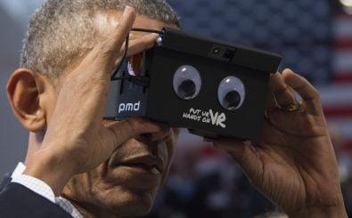 Präsident Obama mit VR-Brille auf der Hannover-Messe I Bild Jim Watson AFP