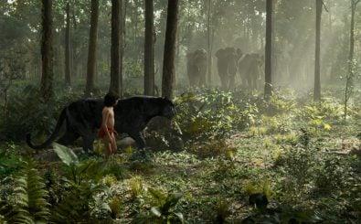 Das Dschungelbuch als Remake. Mowgli und Bagheera im dichten Dschungel. Foto: ©2016 Disney Enterprises, Inc. All Rights Reserved