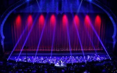 Das Orchester bringt sich in Stellung – nicht für ein Konzert, sondern um die Hintergrundmusik zu neuen Spiele-Trailern zu spielen auf der E3 in Los Angeles. Foto: Rich Polk | AFP.
