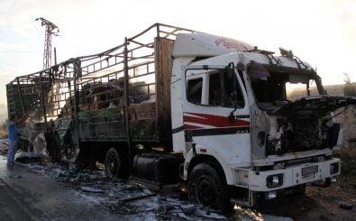 Einer der LKW aus dem Hilfskonvoi der UN, der am 20. September von syrischen Flugzeugen zerstört wurde. Foto: Omar haj kadour / AFP