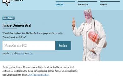 So sieht die Ärztedatenbank von correctiv.org und Spiegel Online aus. Screenshot: | correctiv.org