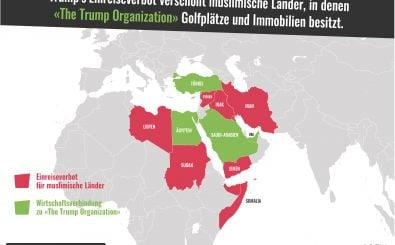 Welche Staaten von Trumps Einreiseverbot betroffen sind und welche nicht, das zeigt unsere Karte der Woche. | Karte: Katapult Magazin