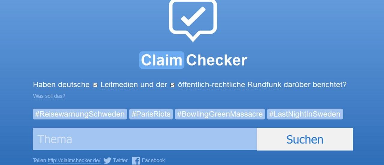 Ob Medien wirklich nicht über bestimmte Ereignisse berichten, kann mit dem Internet-Tool ClaimChecker überprüft werden. Foto: Screenshot | detektor.fm