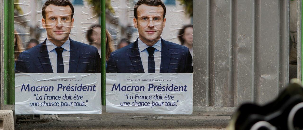 Trotz Facebook und YouTube: Auch so wird Wahlkampf betrieben. Foto: Macron President, Emmanuel Macron campaign poster, Paris CC BY-SA 2.0 | Lorie Shaull / flickr.com