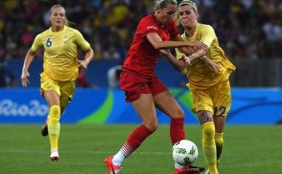 Lena Goessling mit der Deutschen Nationalmannschaft 2016 gegen Schweden. Foto: Vanderlei Almeida | AFP