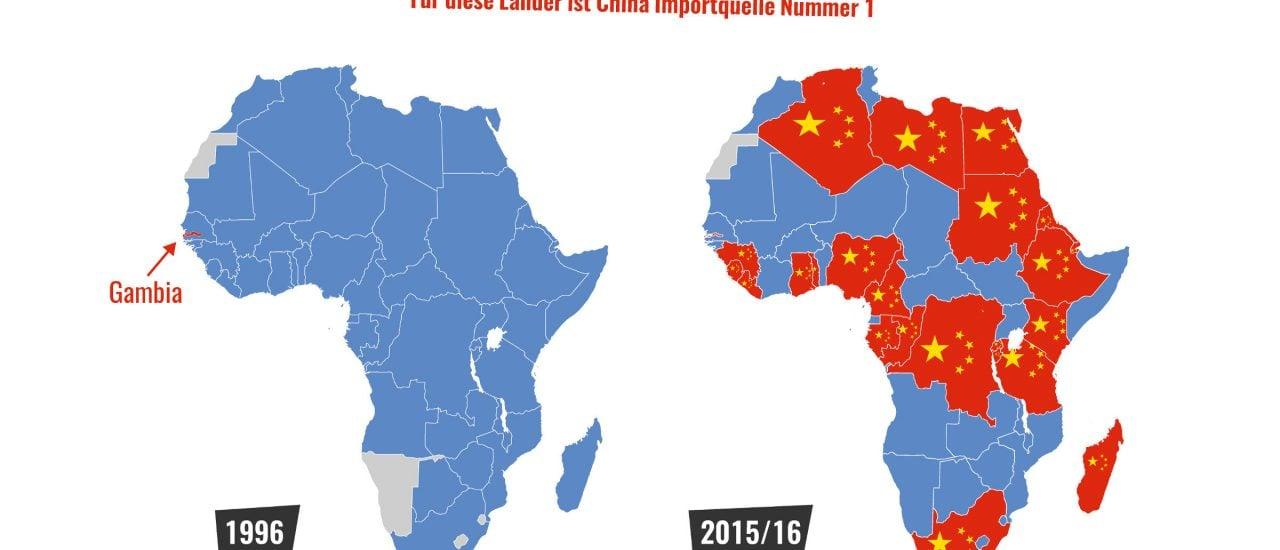 Afrikanische Importe aus China von 1996 (l.) im Vergleich zu afrikanischen Importen 2016. Grafik: Karte der Woche | Katapult Magazin