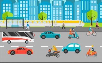 Fahrrad, Auto, Bus – welches Verkehrsmittel wird genutzt? Foto: Oxy_gen / Shutterstock.com