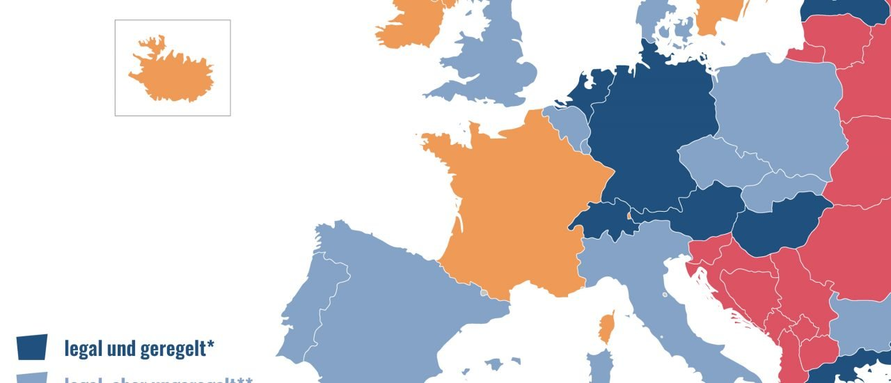 In Deutschland ist Prostitution seit 2001 entkriminalisiert. Grafik: Karte der Woche | Katapult-Magazin