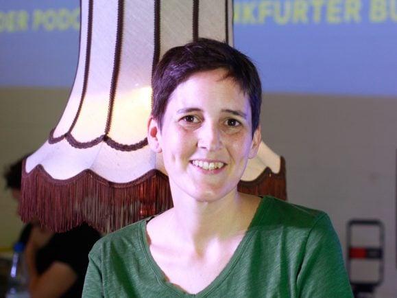 Anke Stelling im Gespräch auf der Frankfurter Buchmesse 2018. Foto: Kati Zubek | detektor.fm