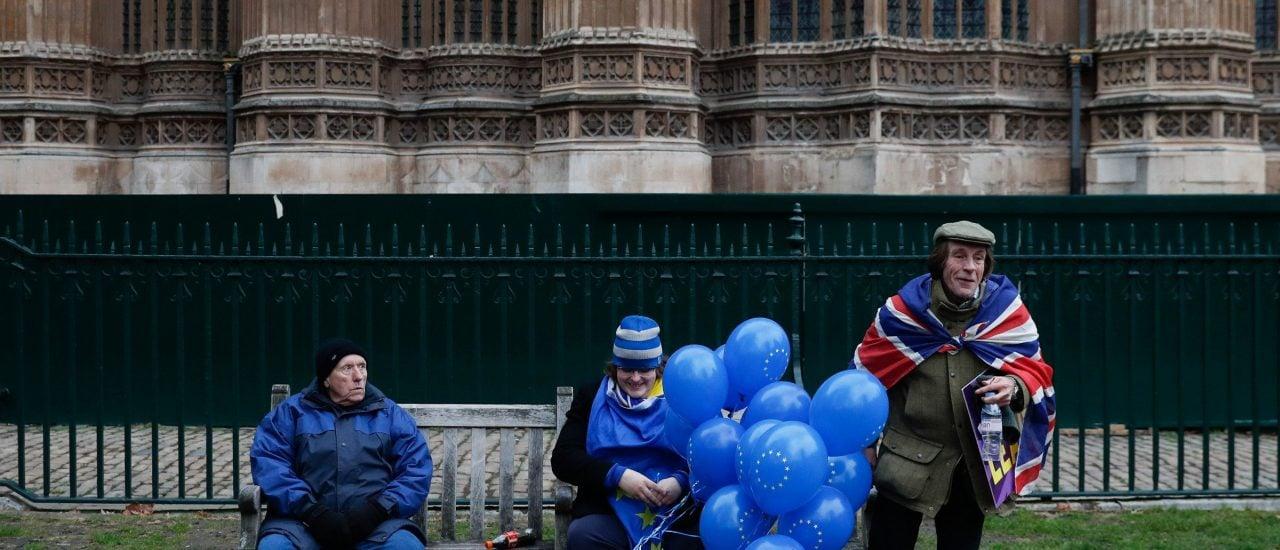 In Vielfalt geeint: Brexit Gegner und Befürworter in London im Januar 2019. Foto: Adrian Dennis | AFP