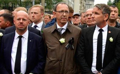 Die AfD-Spitzenkandidaten Kalbitz, Urban und Höcke. Foto:  John MacDougall / AFP