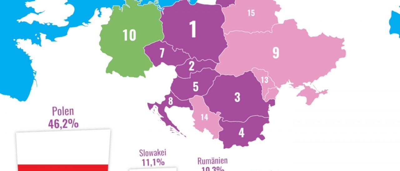 Die Karte zeigt die Herkunfstländer von Care-Migrantinnen. Grafik: Aranka Benazha | Katapult-Magazin