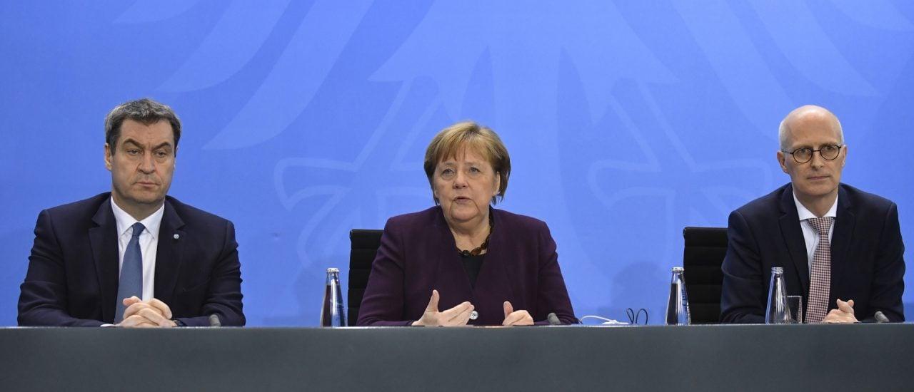 Bild: Markus Söder, Angela Merkel, Peter Tschentscher. Foto: John MacDougall / AFP