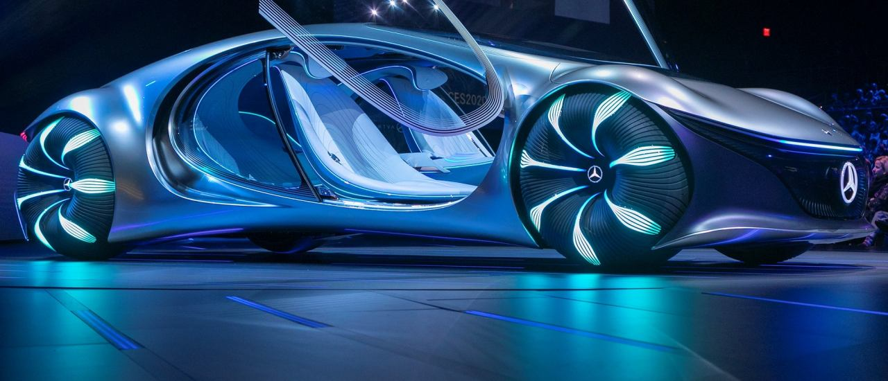 The Avatar-themed Mercedes-Benz Vision AVTR concept vehicle is world premiered at the Daimler keynote address by the head of Mercedes-Benz Cars, Ola KŠllenius, during the 2020 Consumer Electronics Show (CES) in Las Vegas, Nevada, on January 6, 2020. – CES is one of the largest tech shows on the planet, showcasing more than 4,500 exhibiting companies representing the entire consumer technology ecosystem. (Photo by DAVID MCNEW / AFP)